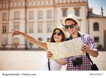 Urlauber mit Reiselust auf ihrer Fernreise